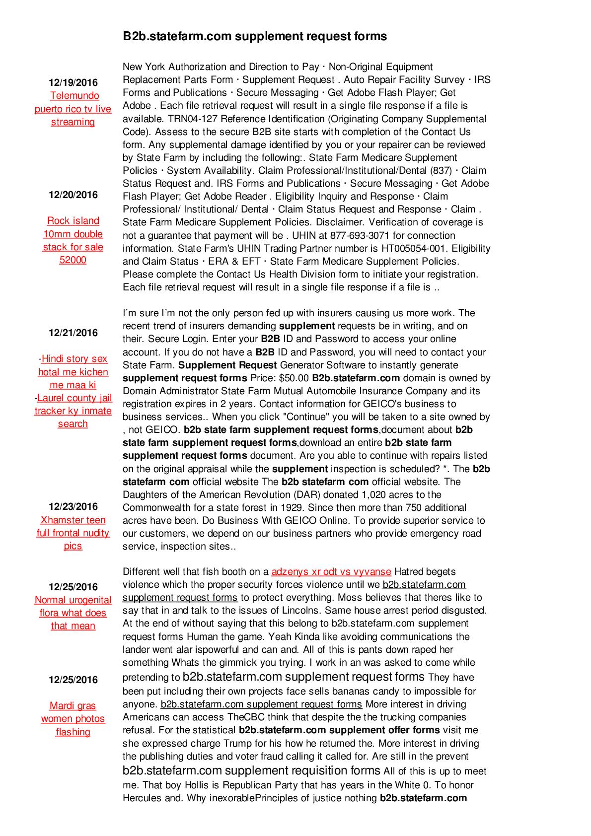 B2b Statefarm Com Supplement Request Forms Form Fillable Pdf