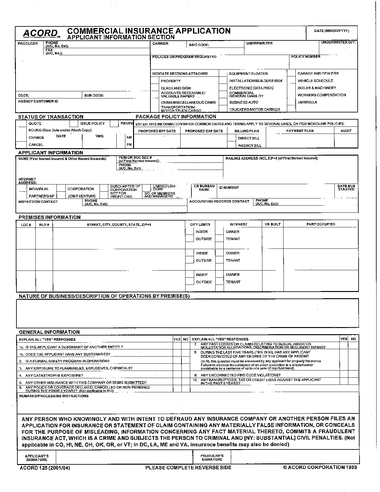 Acord 125 Commercial Insurance Application 126 Commercial Form