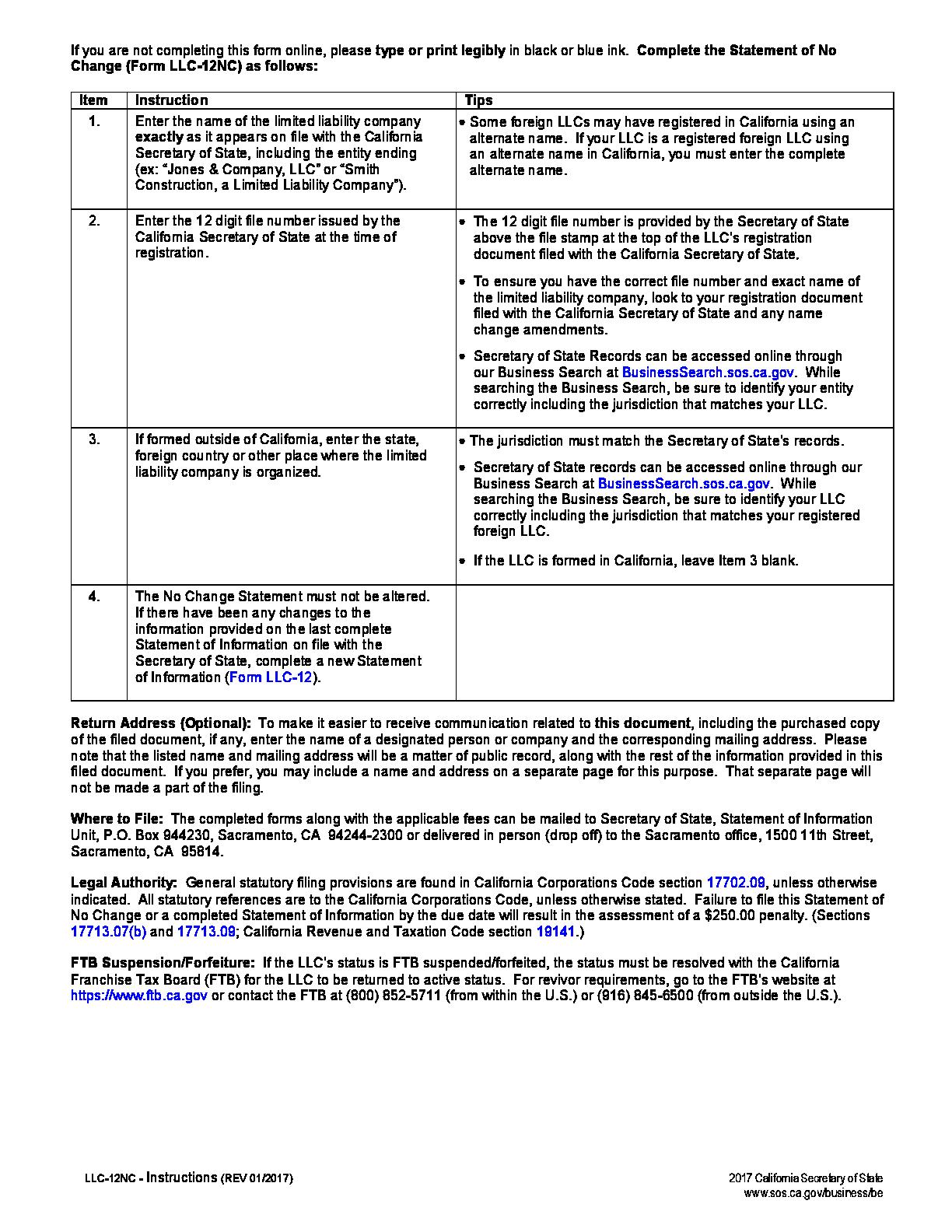 Form Llc 12nc Llc Statement Of No Change Form Fillable Pdf