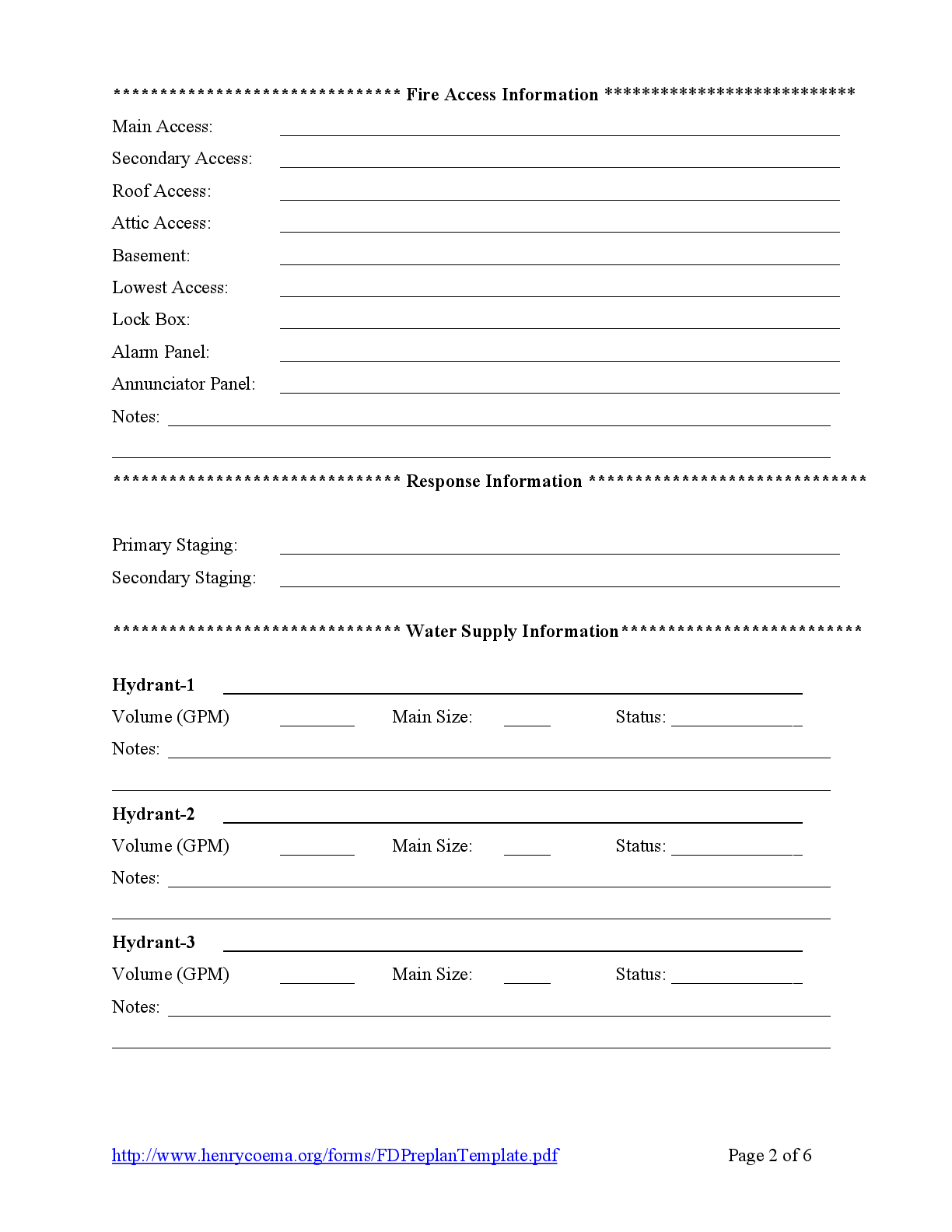 Fire Department Pre Plan Forms Fillable Form Fillable Pdf Template