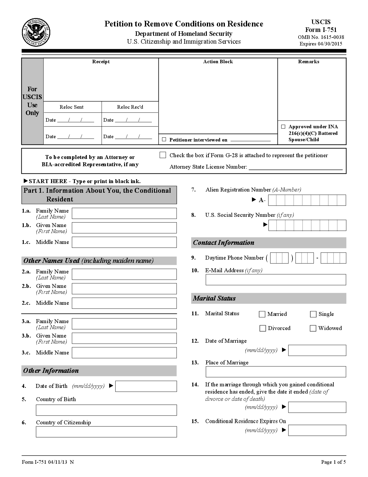 Get The FREE I 751 Sample 2016 Form Online